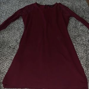 Maroon tight dress with sheer sleeves